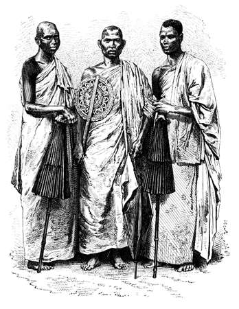 anthropology: Victorian engraving of a buddhist priest and novices, Sri Lanka. Digitally restored image from a mid-19th century Encyclopaedia.