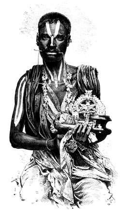 anthropology: Victorian engraving of a Hindu Fakir, India. Digitally restored image from a mid-19th century Encyclopaedia.