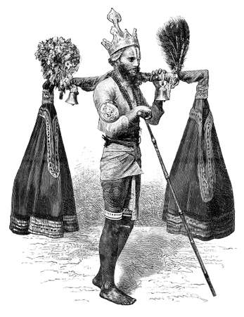 anthropology: Victorian engraving of a Hindu pilgrim, India. Digitally restored image from a mid-19th century Encyclopaedia. Stock Photo