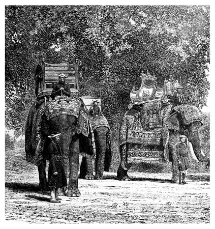 restored: Victorian engraving of a royal elephant procession, India. Digitally restored image from a mid-19th century Encyclopaedia.