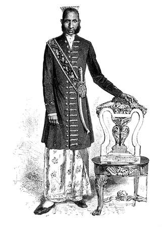 anthropology: Victorian engraving of a muliyar or head man, Sri Lanka. Digitally restored image from a mid-19th century Encyclopaedia.