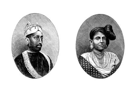 anthropology: Victorian engraving of a wealthy Indian husband and wife. Digitally restored image from a mid-19th century Encyclopaedia. Stock Photo