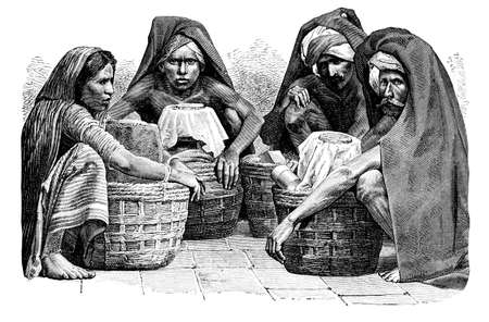 anthropology: Victorian engraving of a  traditional milk sellers, Madras (Chennai), India. Digitally restored image from a mid-19th century Encyclopaedia.