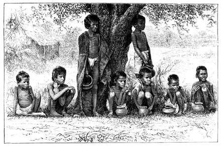 restored: Victorian engraving of orphans, Madras (Chennai), India. Digitally restored image from a mid-19th century Encyclopaedia.
