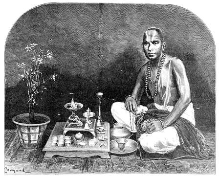 anthropology: Victorian engraving of a Brahman man, India. Digitally restored image from a mid-19th century Encyclopaedia. Stock Photo