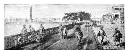 anthropology: Victorian engraving of the promenade in Calcutta (Kolkata), India. Digitally restored image from a mid-19th century Encyclopaedia. Stock Photo