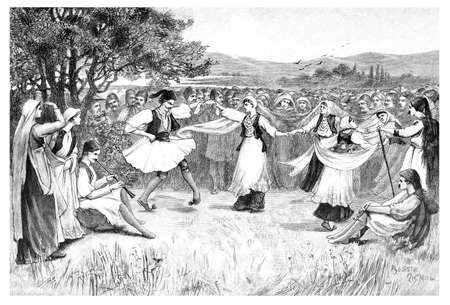 Victorian engraving of traditional Greek dancers. Digitally restored image from a mid-19th century Encyclopaedia. Stok Fotoğraf