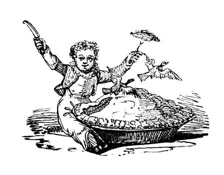 19th century engraving of a pigeon pie story Stok Fotoğraf