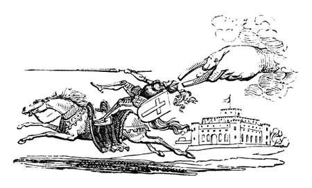 자석에 관한 만화의 19 세기 조각