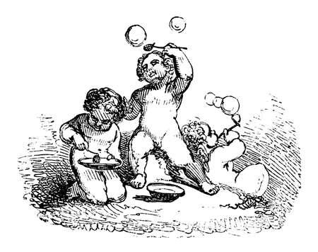 cherubs: 19th century engraving of cherubs blowing bubbles Stock Photo