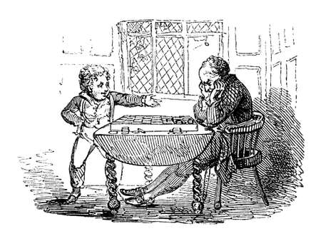 draughts: 19th century engraving of a father and son playing checkers