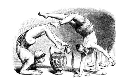 restored: Victorian engraving of ancient greek acrobats. Digitally restored image from a mid-19th century Encyclopaedia.