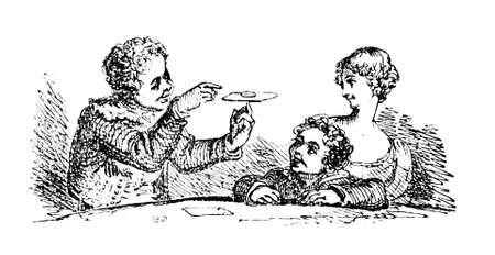 magic trick: 19th century engraving of a magic trick