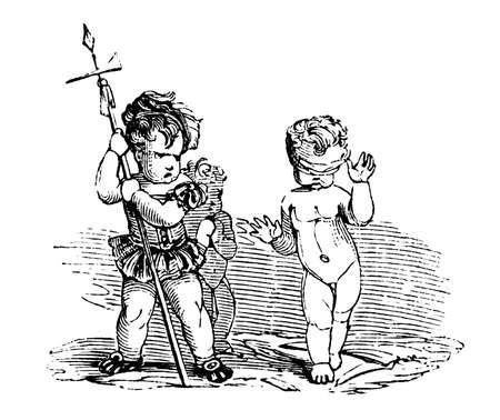 blindfold: 19th century engraving of cherubs playing magic games Stock Photo