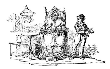 19th century engraving of a boy and his grandmother