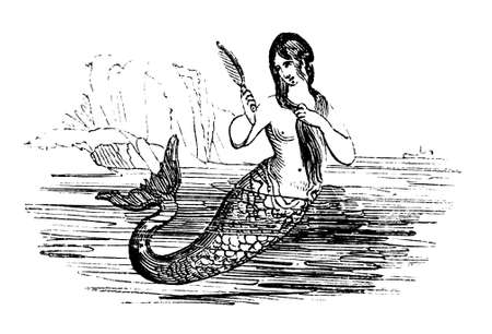 19th century engraving of a mermaid