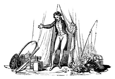 19th: 19th century engraving of a man on stage
