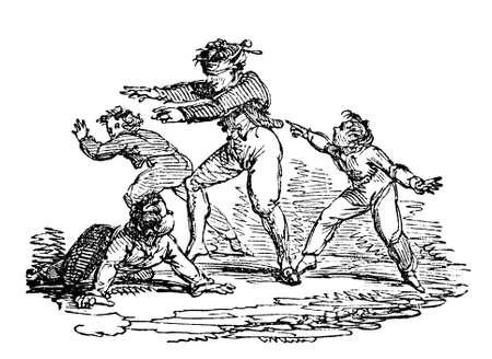 blind man: 19th century engraving of children playing Blind Man
