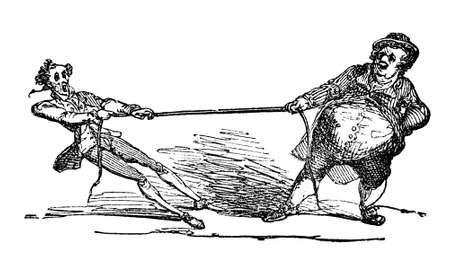 tug: 19th century engraving of two men playing tug of war, photographed from a book  titled