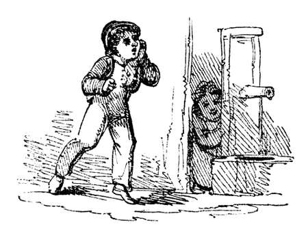 hide and seek: 19th century engraving of children playing Hide and Seek, photographed from a book  titled