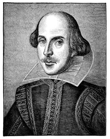 grabado antiguo: Grabado del siglo 19 de William Shakespeare