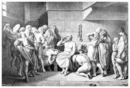 cicuta: Grabado Victoriano de la muerte de Sócrates. Imagen digitalmente restaurada de una enciclopedia mediados del siglo 19.