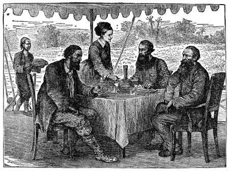 serving people: Victorian engraving of lunch on the African savannah
