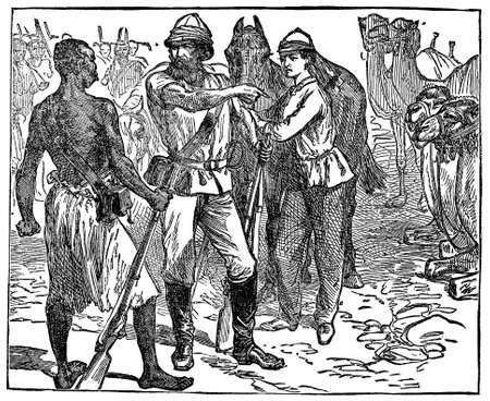 anthropology: Victorian engraving of an African safari hunter