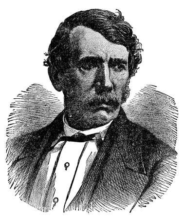 dr: Victorian engraving of explorer Dr. David Livingstone