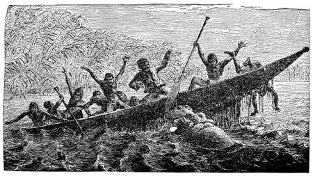 attacking: Victorian engraving of a hippo attacking a canoe