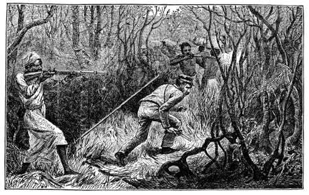 Victorian engraving of an ambush in the African jungle