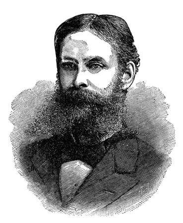 Victorian engraving of a bearded gentleman Imagens