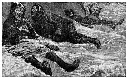 Victorian engraving of desperate Arctic expeditionaries Imagens - 42495909