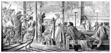 restored: Victorian engraving of an ancient Greek banquet. Digitally restored image from a mid-19th century Encyclopaedia. Stock Photo
