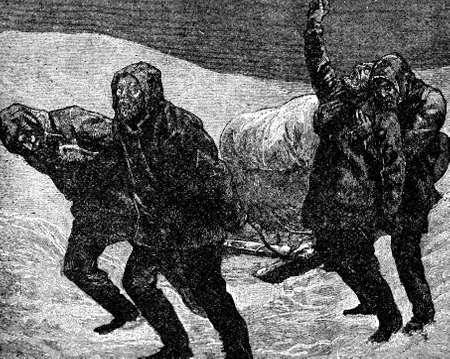 Victorian engraving of desperate Arctic expeditionaries