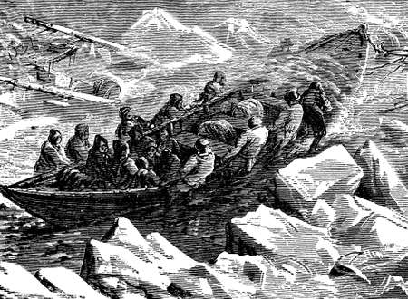Victorian engraving of a polar expedition