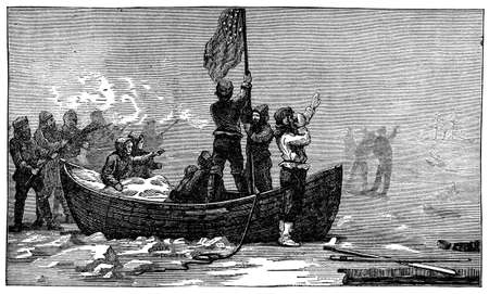 Victorian engraving of a polar expedition Imagens - 42495926