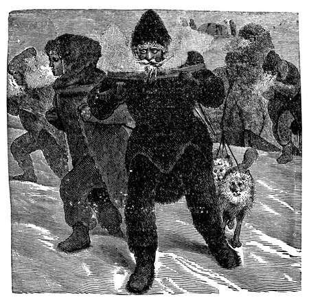 freeze: Victorian engraving of Arctic explorers hiking in the snow