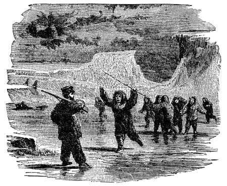 arctic landscape: Victorian engraving of a meeting between explorer and Inuit