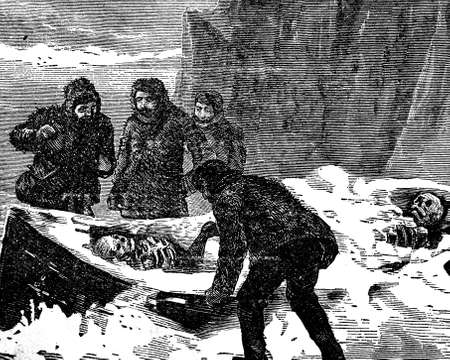 grisly: Victorian engraving of a grisly polar expedition discovery
