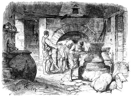 Victorian engraving of an ancient Roman bakery. Digitally restored image from a mid-19th century Encyclopaedia.