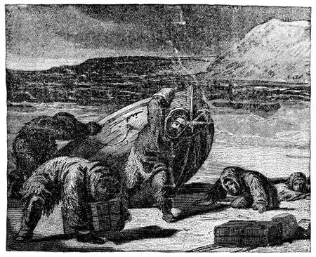 exhausting: Victorian engraving of a tired group of polar explorers Stock Photo