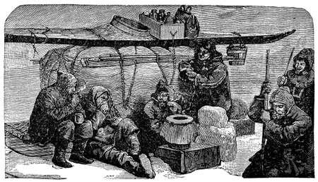 Victorian engraving of Arctic explorers Imagens