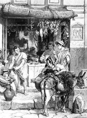 고 대 폼 페이에서 콘크리트 장면의 빅토리아 조각. 19 세기 중반 백과 사전에서 디지털 복원 된 이미지.