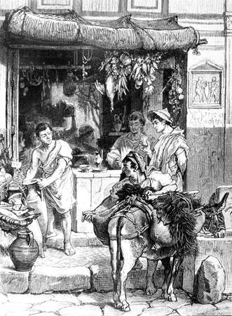 pompeii: Victorian engraving of a strete scene in ancient Pompeii. Digitally restored image from a mid-19th century Encyclopaedia.