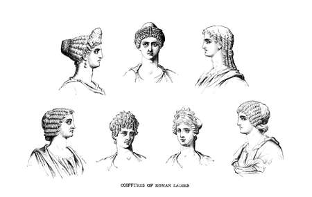 Victorian engraving of hair stlyes of ancient Roman women. Digitally restored image from a mid-19th century Encyclopaedia. Stok Fotoğraf