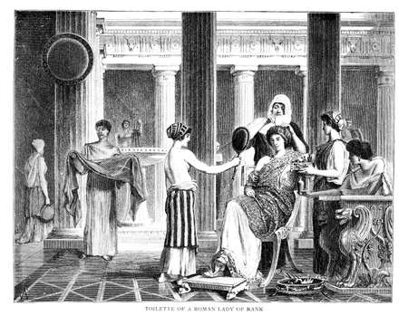 Victorian engraving of a wealthy Roman woman getting dressed. Digitally restored image from a mid-19th century Encyclopaedia.