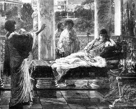 부유 한 로마 여자의 빅토리아 조각. 19 세기 중반 백과 사전에서 디지털 복원 된 이미지. 스톡 콘텐츠