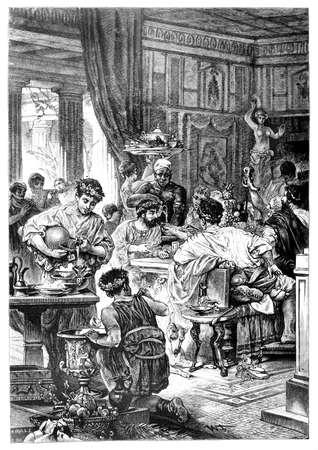 roma antigua: Grabado victoriana de un banquete romano. Imagen digitalmente restaurada de una enciclopedia mediados del siglo 19.
