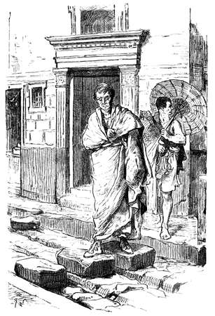 Victorian engraving of a street in Pompeii. Digitally restored image from a mid-19th century Encyclopaedia.